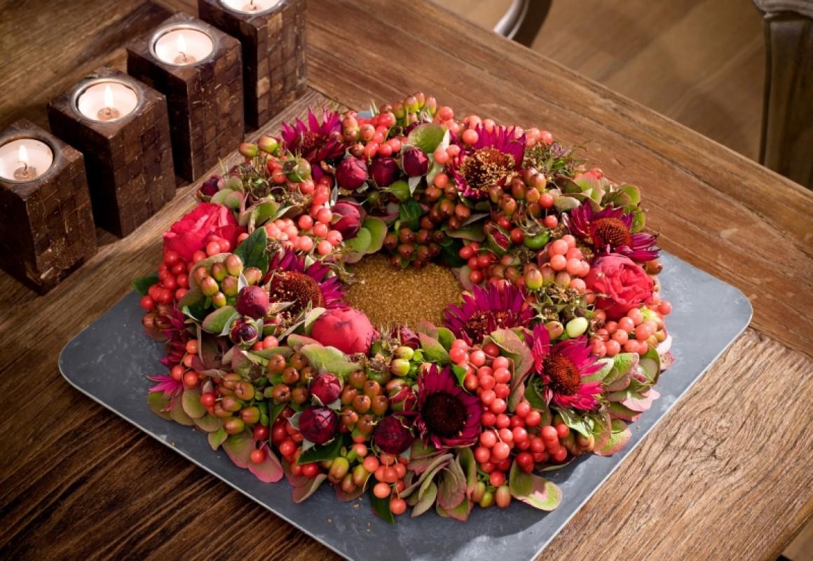 couronne d 39 automne chaleureuse oasis floral products. Black Bedroom Furniture Sets. Home Design Ideas